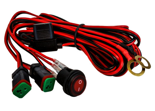 Double DT POD Harness Plug Wiring Kit 16#AWG 30A Fuse Box Lighted Switch for LED HID lights bars offroad 4x4