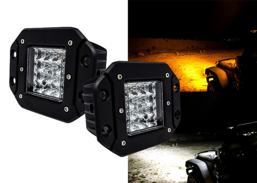 Flush Mount Dual Color High Output White Amber LED POD light Changing Flasher Strobe Optic Lens Emergency Driving Fog Spot Light  for Offroad Truck SUV ATV Jeep Motorcycle Boat Marine  12 - 32 volts. (1 Pair)