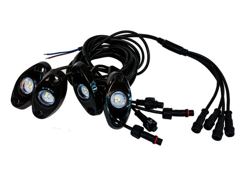 Rock Light Kit 4x LED Underglow light with wiring for crawling under body frame fender 4x4 offroad White
