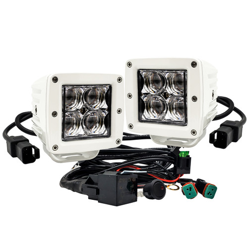 "4D Series OZ-USA® 3"" Marine Grade White High Intensity LED Pod Lights Spot Beam Pattern Plug and Play Wire Harness Marine Boat RV"
