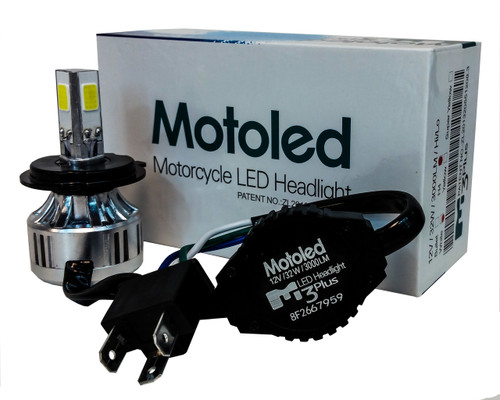Motorcycle ATV Headlight Kit H4 HB2 9003 Hi/Lo 3-Sided Dual Beam LED Bulb 6000K Harley Kawasaki Yamaha 12 volts