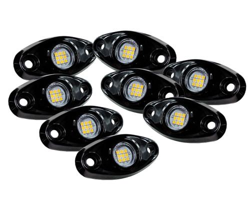 8 pc White LED Rock Light Kit 9 SMD for crawling under body frame fender 4x4 offroad White