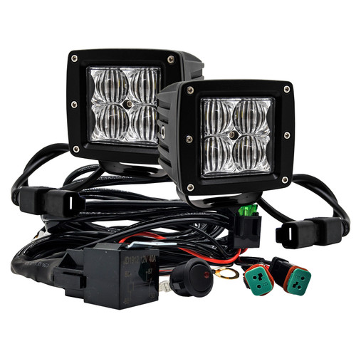 """4D Series OZ-USA® 3"""" Pod High Intensity LED Ditch Lights Flood Beam Pattern Plug and Play Wire Harness Offroad"""