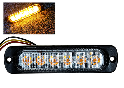 "Amber 6-LED 4"" Surface Mount Warning Strobe Light Hazard Flasher Emergency Tow Truck Construction Vehicle Semi Trailer  Van  12v 24v"