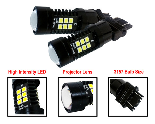 Pack of 2 White LED 3157 Light Bulb 3-Sided Dual Intensity 21SMD Projector Lens Running Tail Brake Reverse Back-up Light 12V - 24V