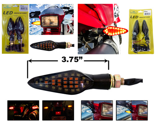 Front & Rear White Red Amber Dual Color LED Running Light Turn Signal Smoke Lens 12 Volts Motorcycle Universal Blinker