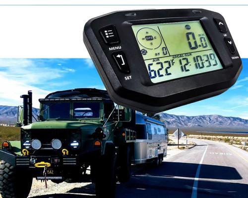 GPS Speedometer Digital Backlit LCD Display Gauge Kit Odometer Hour Meter Voltage Temperature Clock Maintenance Intervals for Offroad Truck Motorcycle ATV UTV SxS Car Marine Boat RV  8 - 36 Volts