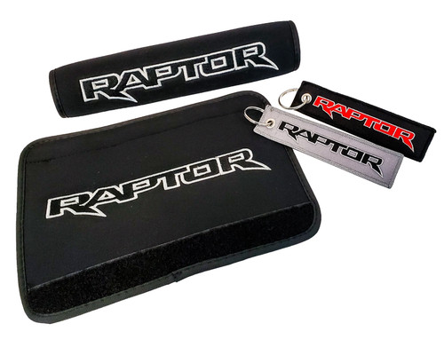 Set of 2 Embroidered Raptor Logo Black Neoprene Automotive Seat Belt Cover Shoulder Pads and Raptor Logo Key Chain Tag Accessory