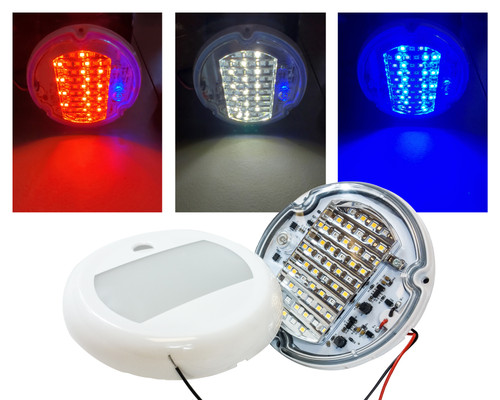 "5"" Round Red White Blue LED Color Changing Dome Light Touch Sensor Switch Lighting Fixture Interior Exterior Marine RV Truck Boat Wheelhouse Trailer 12v 24v"