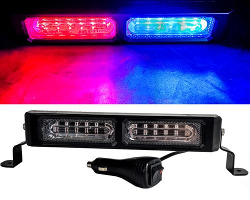 "9"" Red & Blue High Intensity LED Flashing Strobe Light Bar Interior Dash Mount for Law Enforcement Vehicles Truck 12v Cigarette Port Plug"