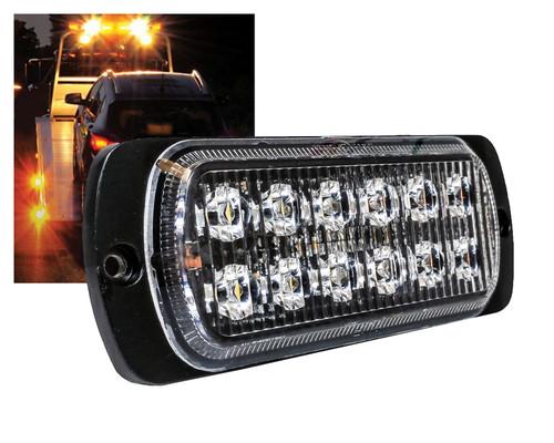 Amber 12- LED Surface Mount 19-Flashing Pattern Warning Strobe Light Flasher Emergency Vehicle Tow Truck Trailer Van Construction Heavy Equipment 12v 24v