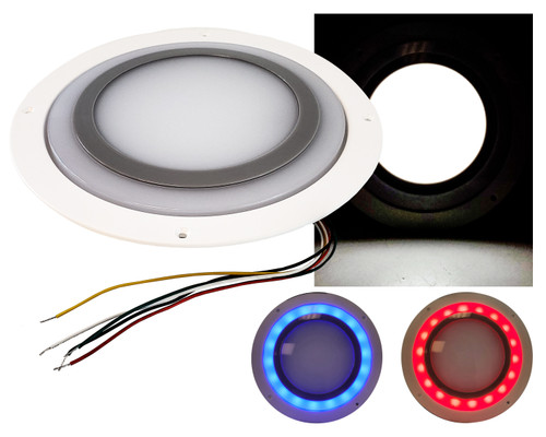 "8.5"" Round  26w White LED Interior Scene Dome Recessed Light Frosted lens with Color Changing Red + Blue Ambient Night Light Non-Switch 12V"
