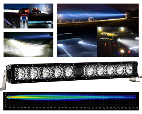"22"" Laser Projector Light Bar Single Row High Intensity Osram Side LEDs with DRL Function for Offroad Truck SUV UTV Marine Vessels 12-24 volt"