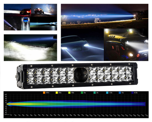 "14"" Laser Projector Light Bar Double Row High Intensity  Osram LED for Offroad Truck UTV ATV Marine Vessels 12 - 24 volts"