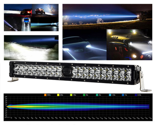 "22"" Laser Projector Light Bar Double Row High Intensity Osram Side LEDs  for Offroad Truck SUV UTV Marine Vessels 12-24 volt"