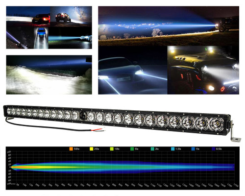 "50"" Laser Projector Light Bar Single Row High Intensity Osram Side LEDs with DRL Function for Offroad Truck UTV Marine Vessels 12-24 volt"