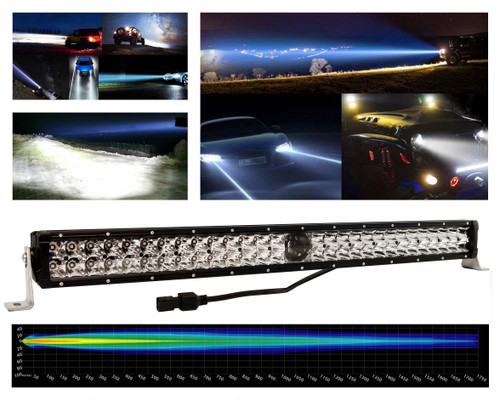 "30"" Laser Projector Light Bar High Intensity Double Row Osram LED Sidelights for Offroad Truck UTV Marine Vessels 12-24 volt"