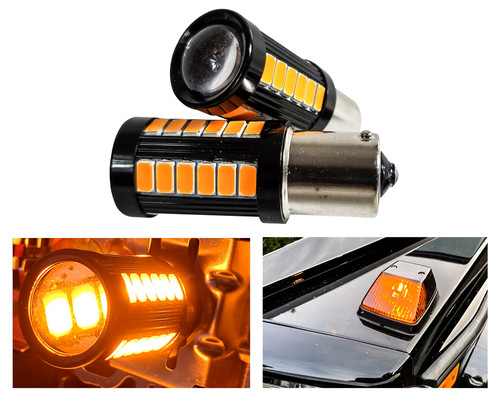 Set of 2 Amber LED 1156 Bulb 33-SMD Error Free LED Lamp with Projector Lens for Running Lights Turn Signals Marker