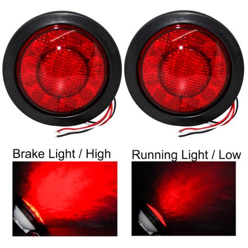 5.5 inch Round Red Lens  21-LED Tail Brake Light Flush Mount with Rubber Grommet
