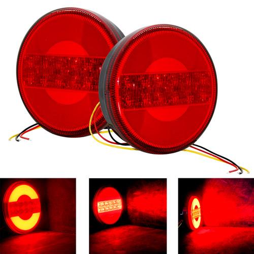 5 inch Round Red Lens LED Tail Brake  Light Surface Mount for Trailer Toy Hauler RV 12V 24V
