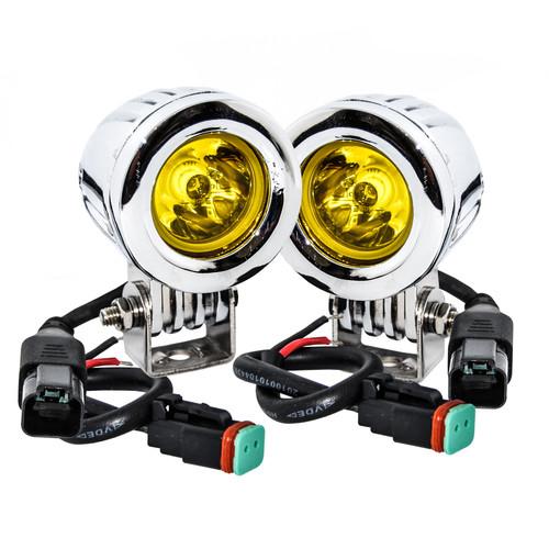 Chrome 20w LED Amber Fog Mini Trail Lights Spot Beam for Motorcycle Off-road Truck ATV UTV RV 12V