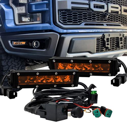 1 Pair 7 Inch Amber OZ-USA® UB Series 30W Ultra Bright High Output Single Row LED Fog Light Kit with Plug and Play Harness