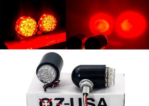 Motorcycle Tail Brake Light OZ-USA® Turn Signal Red LED Black Custom  Cruiser ATV 12 volts
