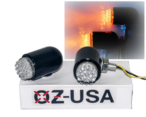 Motorcycle Running Light OZ-USA® Turn Signal Amber LED Front Black Custom Chrome Cruiser 12V