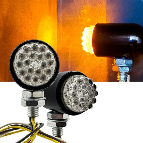 Motorcycle OZ-USA® Running Light Turn Signal Dual Intensity Amber LED Front Black Custom Chrome Cruiser 12V