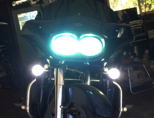 White LED Harley Turn Signal Kit Day Time Running Touring Maker Fog AUX Driving