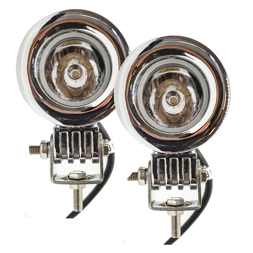 Chrome Auxiliary 20w LED lights spot motorcycle cruiser fog hid passing running