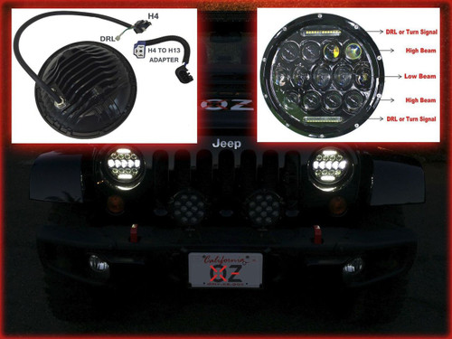 JEEP HEADLIGHT 75w Phillips LED H4 H13 DRL HI/LO DUAL BEAM JK tj cj hummer h1 h2