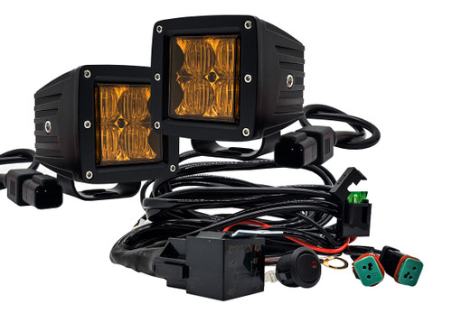 """4D Series OZ-USA® 3"""" Amber Pod High Intensity LED Ditch Fog Lights Flood Beam Pattern Plug and Play Wire Harness Offroad"""