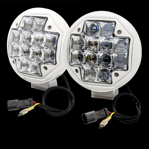 "White  5"" LED spot beam Fog Light 12v 24v RV Marine Boat docking Off highway road Truck 4x4"