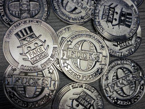 Fake Mask USA Zero F*cks Coin