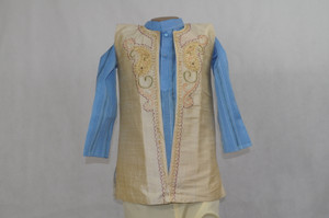1004 Sky blue kurta with beige vest