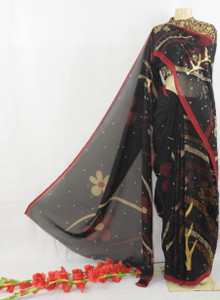 Black Saree with Floral Print