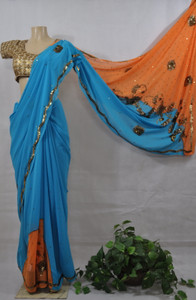 Blue and Orange Casual Saree