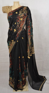 Black Saree with Gold Print