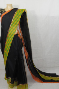 Black Saree with Orange and Green Border