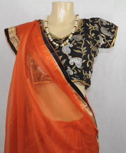 Stylish Orange Saree