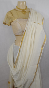 Traditional Milk White Cotton Saree