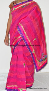 Beautiful Pink Blue Desinger Saree