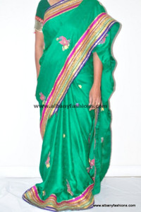 Beautiful Green Desinger Saree