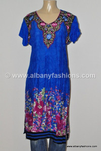 Blue-Designer long Kurtis-44