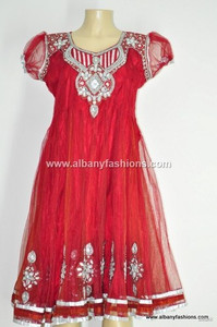 2013-Red Churidar Salwar Kameez Size 40 Indian_Churidar_10204