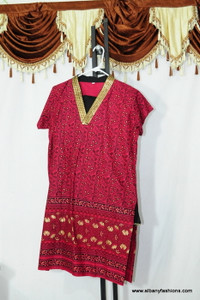 Dark Pink Golden V Neck Churidar Suit