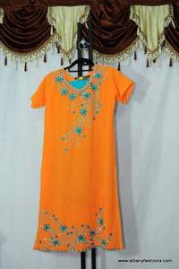 Orange Blue Chumki Churidar Suit