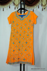 Orange Blue Designer Chumki Churidar