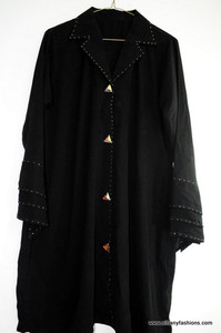 Short Black Abaya with Fancy buttons / Jilbabs / Hijabs / Indian Burka